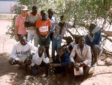 "Sr. Carolyn with some of the ""Lost Boys of Sudan."""