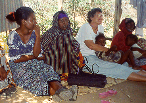 Sr. Mary Ellen Howard attending a women's group in Kenya.