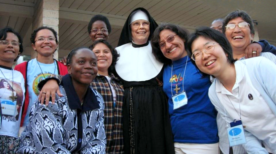 This favorite photo of Sr. Pat's shows her with new members of the Sisters of Notre Dame.