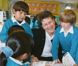 Sr. Maureen with students