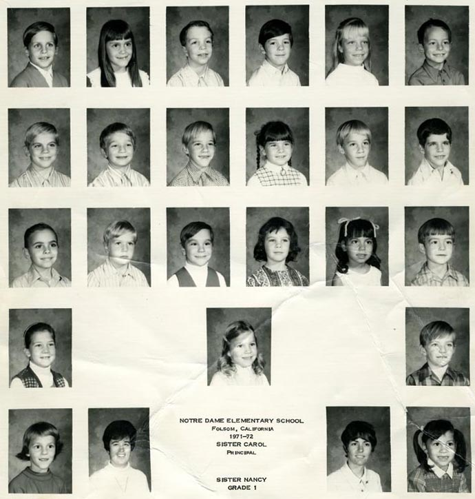 First grade class in 1971 taught by Sr. Nancy McCarron. Sr. Carol Miller was principal. Are you in this photo?
