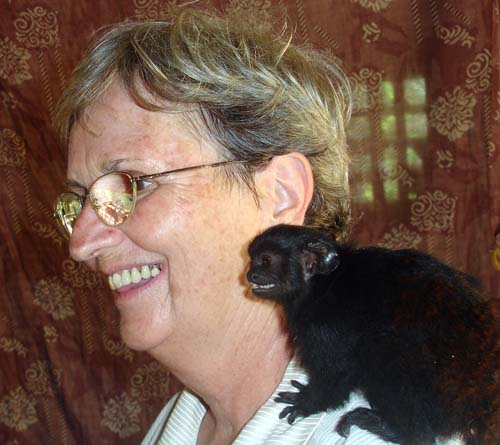 Sr. Jane lends a shoulder to a furry friend.