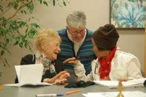 Sr. Pat with two of her ESL students
