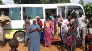 South Sudan: Sr Alice arranging bus to PoC camp - July 2016